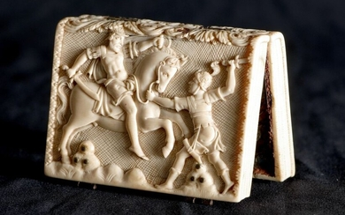 Small book reliquary of ivory dishes carved with...