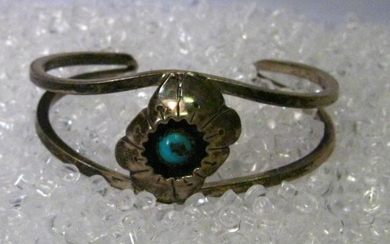 Sterling Silver Southwestern Shadow Box Turquoise Cuff