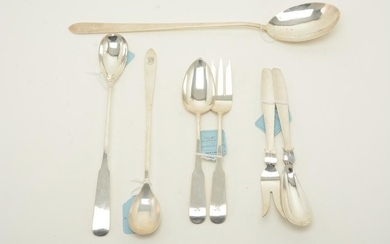 Sterling silver serving utensils, mid-20th century.