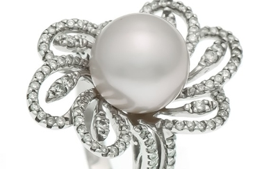 Südsee-Brillant-Ring WG 750/000 with a South Sea pearl...