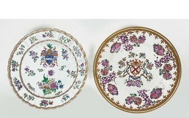 TWO 19TH CENTURY FRENCH SAMPSON PORCELAIN ARMORIAL PLATES Ha...