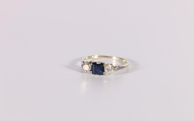 Three stone ring with square sapphire and two diamond brilli...
