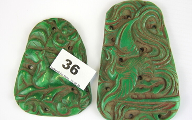 Two Chinese jade carved hardstone amulets, largest 12cm.