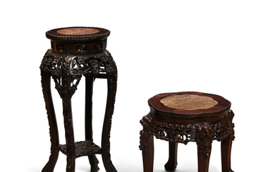 Two carved hardwood marble top tables