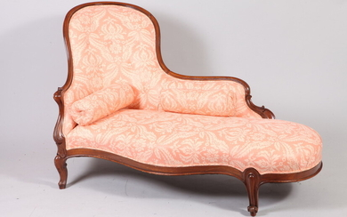 VICTORIAN CARVED WALNUT UPHOLSTERED RECAMIER/CHAISE LONGUE. tufted chair back; short...