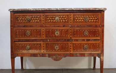 Veneer marquetry chest of drawers opening three drawers on three rows.