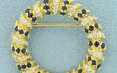 Vintage Natural Sapphire and Diamond Circle Pin in 18k