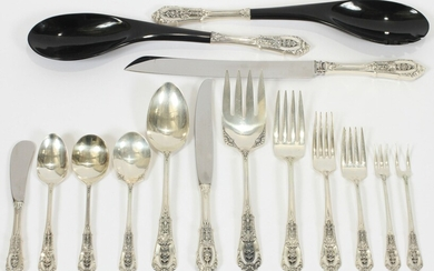 WALLACE 'ROSE POINT' STERLING FLATWARE SERVICE, 111 PCS, 91.26 TOZ