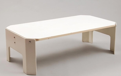 Wood and plastic rectangular white-lacquered coffee-table, design Kho...