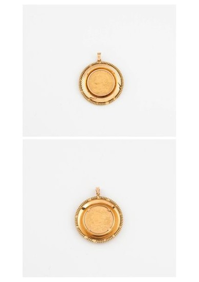 Yellow gold pendant (750) holding a 20 franc...