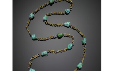 Yellow gold rope long necklace with tumbled turquoise, g 69.70...