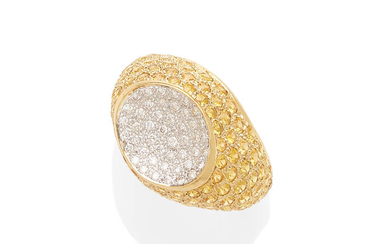 an 18k gold, diamond and colored sapphire ring