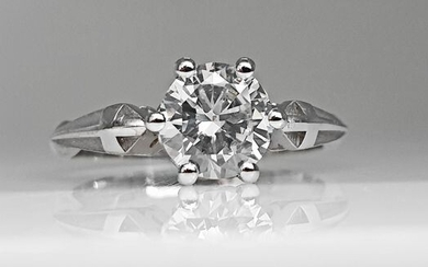 14 kt. White gold - Ring - 1.02 ct Diamond - No Reserve F/VVS2