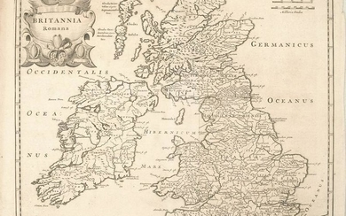 1695 Morden Map of the British Isles in Roman Times --