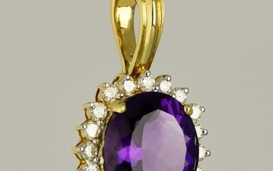 18 kt. Gold - Pendant - 4.35 ct Amethyst - Diamonds