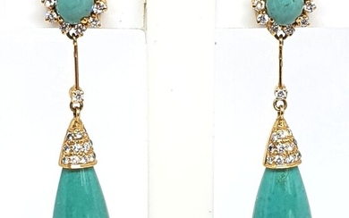 18 kt. Yellow gold - Earrings - 0.48 ct Diamond - Turquoises