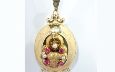 18 kt. Yellow gold - Pendant, Antique Victorian, Anno 1880 - Red Strass - Pearls