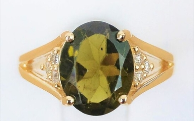 18 kt. Yellow gold - Ring - 2.44 ct Garnet - Diamond