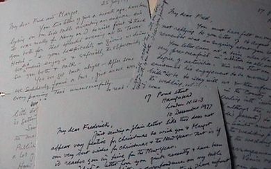 1976 - 1978 ARCHIVE OF HANDWRITTEN LETTERS BETWEEN FAMED WAR ARTIST TO NOTED GERMAN-AMERICAN PROFESSOR, RABBI AND EXPRESSIONIST PAINTER