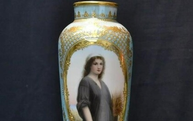 "19th C. Royal Vienna ""Ruth"" Porcelain Vase"