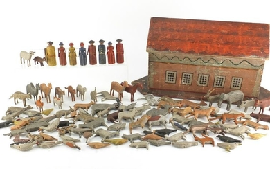 19th century hand painted wooden Noah's Ark with a