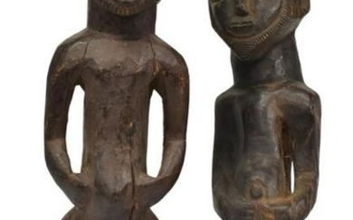 (2) AFRICAN CARVED WOOD MALE FIGURES, HEMBA
