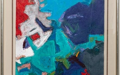 20TH C., SIGNED ACRYLIC ABSTRACT PAINTING