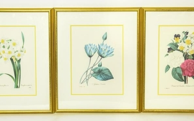 3 Professionally Framed Redoute Floral Prints