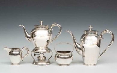 Coffee and tea service (5) - .835 silver - Europe - Second half 20th century