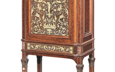 A late Victorian mahogany, rosewood and ivory marquetry cabinet on stand attributed to Collinson and Lock