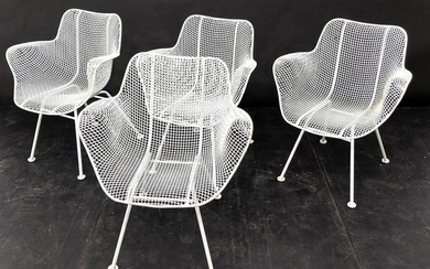 4 RUSSELL WOODARD Wire Mesh Arm Chairs. Painted white.
