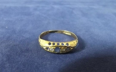 9ct Gold Boat Ring Set With Diamond and Sapphire Size O