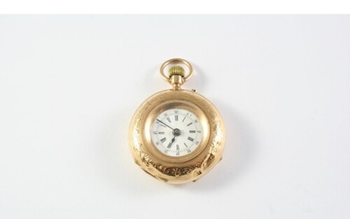 A 14CT GOLD FOB WATCH the white enamel dial with Roman numer...