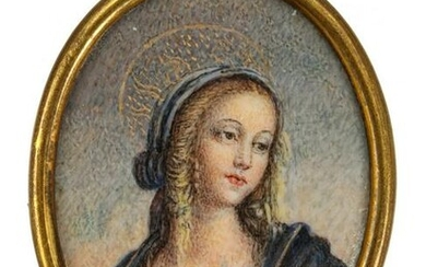 A 19TH C. HAND-PAINTED MINIATURE OF VERGIN MARY