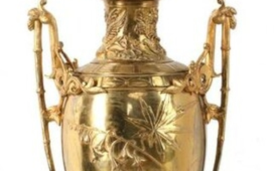 A 19TH CENTURY GILT BRONZE URN ON MARBLE NOW A LAMP