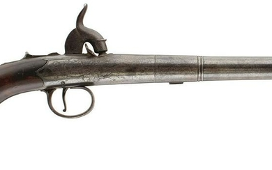 A 22-BORE QUEEN ANNE HOLSTER PISTOL, 6inch three-stage
