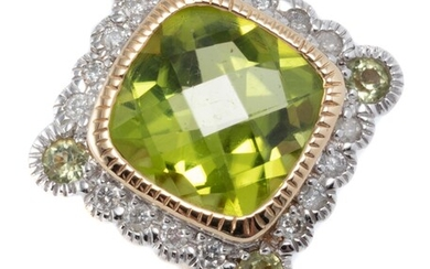 A 9CT GOLD PERIDOT AND DIAMOND RING; centring a cushion cut chequerboard peridot surrounded by 16 round brilliant cut diamonds and 4...