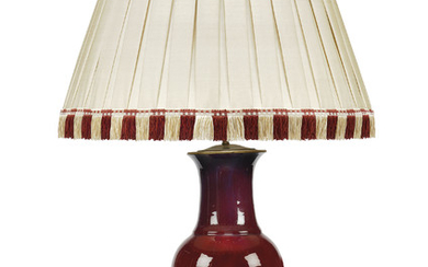 A CHINESE SANGE DE BOEUF VASE, 19TH CENTURY, ADAPTED AS A TABLE LAMP