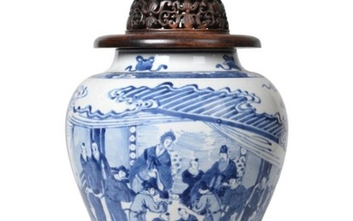 A Chinese Porcelain Jar, Kangxi, of baluster form, painted in...