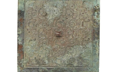 A Chinese bronze square mirror, Eastern Zhou/Warring States period, 5th/4th...