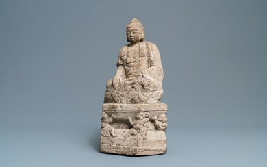 A Chinese carved stone group of Buddha on a throne, Wei or later