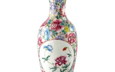 A Chinese famille rose vase, Qianlong mark, shouldered ovoid...