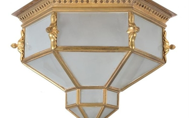 A Continental, probably French, gilt metal and glazed plafonnier loosely in Orientalist taste, second quarter 20th
