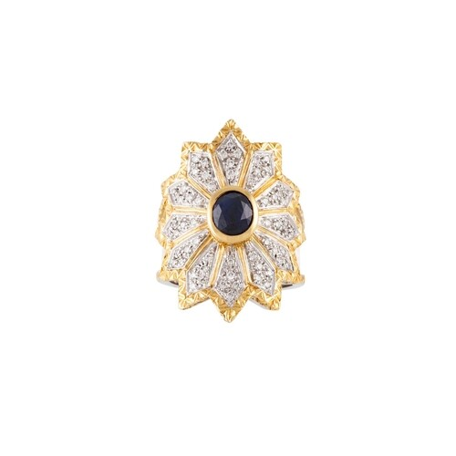 A DIAMOND AND SAPPHIRE DRESS RING, the oval sapphire to a pa...