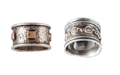 A DIAMOND SET BAND RING, in gold and silver, together with a...