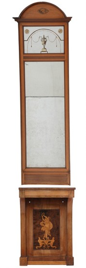 A Danish Empire mahogany console and mirror with inlaid figures and lists. Ca. 1820. H. 255 cm. W. 56 cm. D. 33 cm. (2).