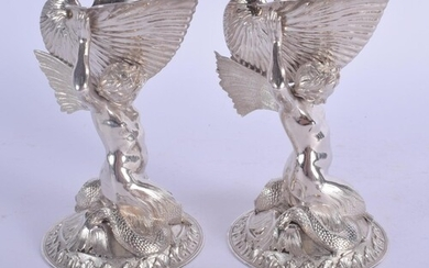 A FINE PAIR OF VICTORIAN SILVER MERMAID SALTS by Smith & Nic...