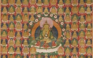 A FINE THANGKA OF AMITAYUS AMIDST 200 LITTLE EMANATIONS OF HIMSELF.
