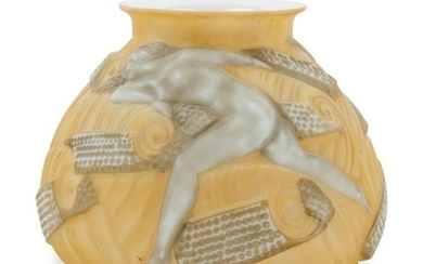 A French Art Deco Molded Glass Vase
