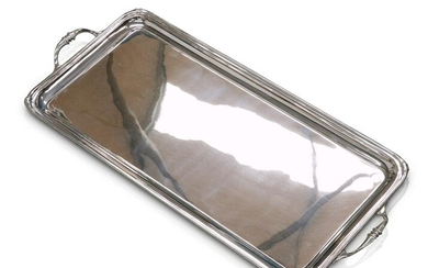 A GEORGE V SILVER TWO-HANDLED TRAY by Atkin Brothers